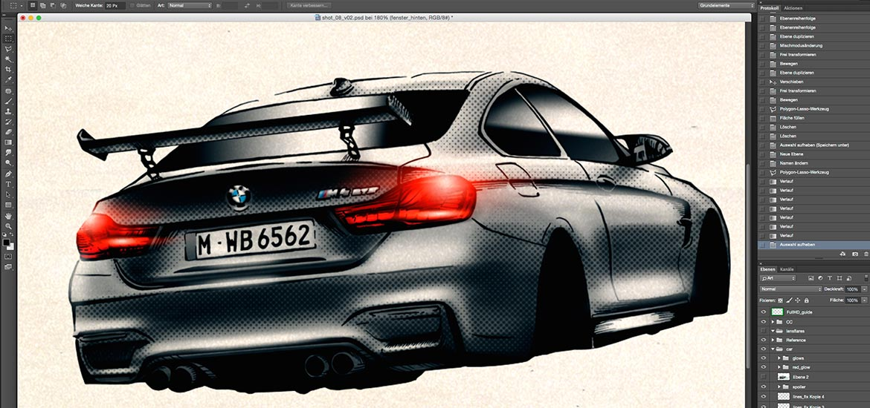 BMW M4 GTS Manga Illustration animation styleframe
